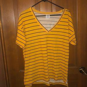Victoria Secret black & yellow stripe shirt